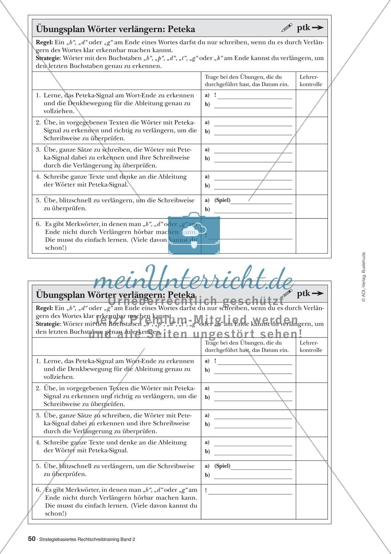 Rechtschreibung: Wörter verlängern - Das Peteka-Signal - Auslautverhärtung - Wissenschaftliche Grundlagen und Arbeitsmaterialien Preview 2