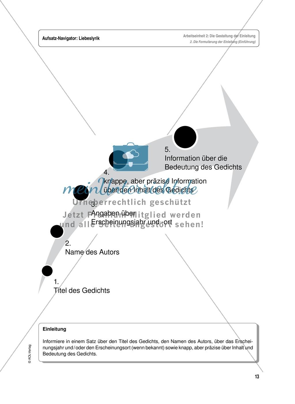Arbeitseinheit zur Gestaltung einer Analyse / Interpretation von Liebeslyrik - Die Gestaltung der Einleitung Preview 2