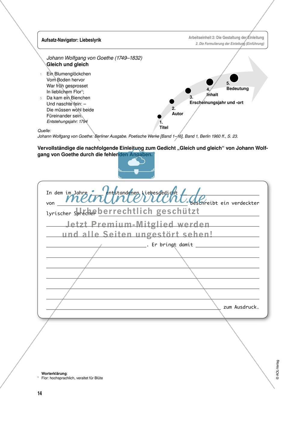 Arbeitseinheit zur Gestaltung einer Analyse / Interpretation von Liebeslyrik - Die Gestaltung der Einleitung Preview 3
