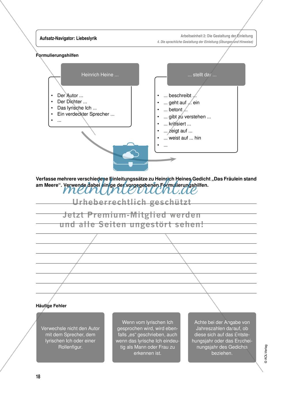 Arbeitseinheit zur Gestaltung einer Analyse / Interpretation von Liebeslyrik - Die Gestaltung der Einleitung Preview 7