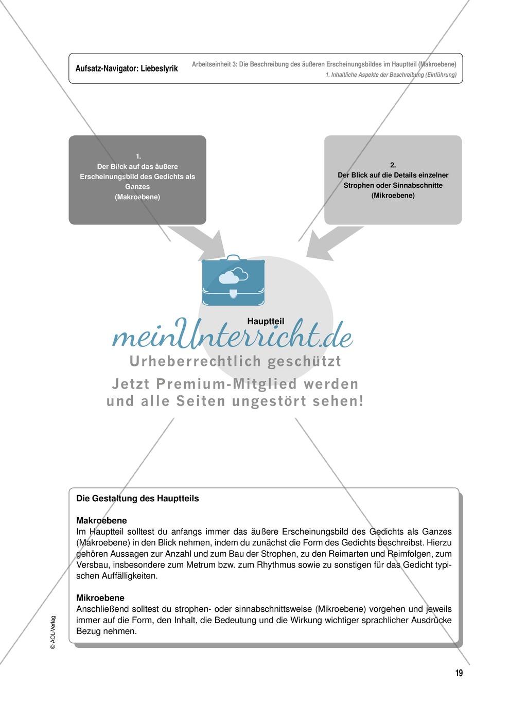 Arbeitseinheit zur Gestaltung einer Analyse / Interpretation von Liebeslyrik - Die Beschreibung des äußeren Erscheinungsbildes im Hauptteil (Makroebene) Preview 1