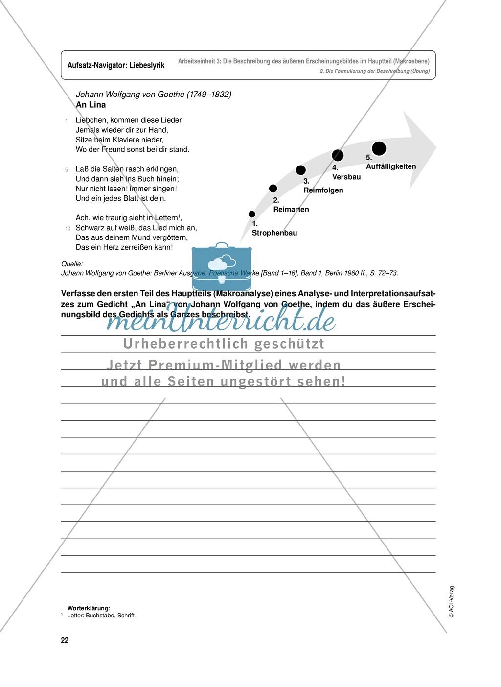 Arbeitseinheit zur Gestaltung einer Analyse / Interpretation von Liebeslyrik - Die Beschreibung des äußeren Erscheinungsbildes im Hauptteil (Makroebene) Preview 4