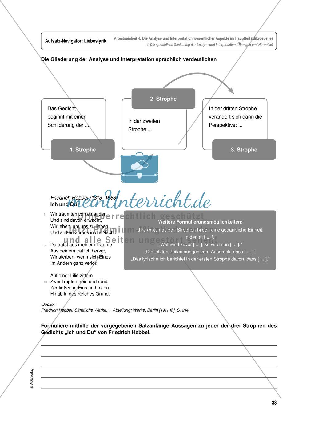 Arbeitseinheit zur Gestaltung einer Analyse / Interpretation von Liebeslyrik - Die Analyse und Interpretation wesentlicher Aspekte im Hauptteil (Mikroebene) Preview 10