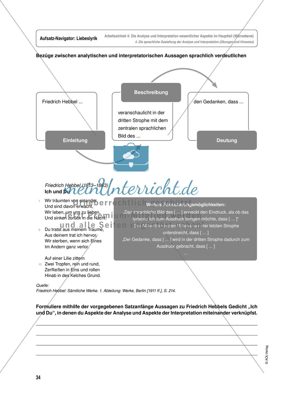 Arbeitseinheit zur Gestaltung einer Analyse / Interpretation von Liebeslyrik - Die Analyse und Interpretation wesentlicher Aspekte im Hauptteil (Mikroebene) Preview 11