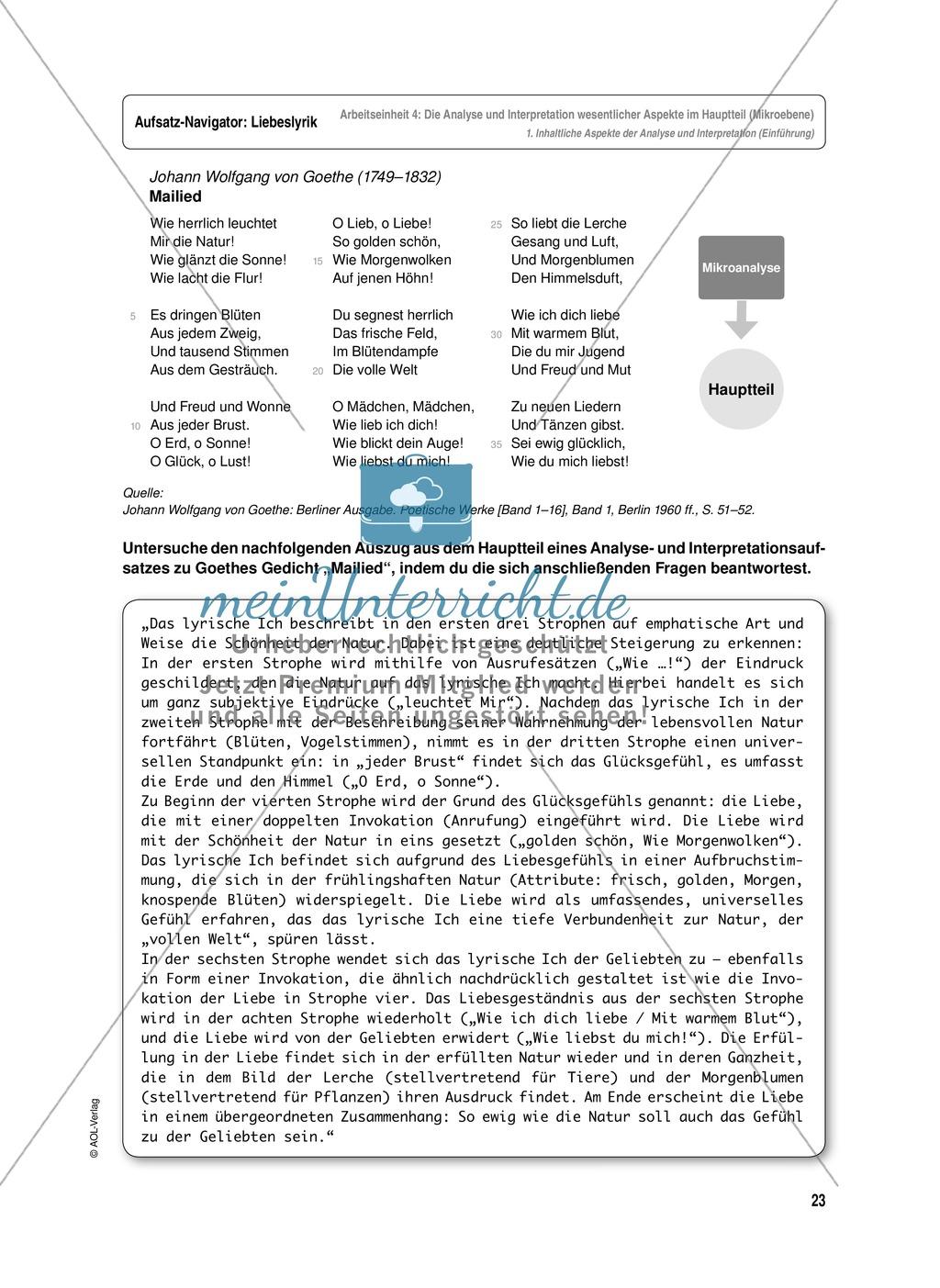 Arbeitseinheit zur Gestaltung einer Analyse / Interpretation von Liebeslyrik - Die Analyse und Interpretation wesentlicher Aspekte im Hauptteil (Mikroebene) Preview 0