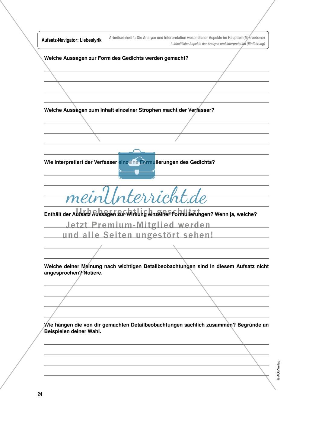 Arbeitseinheit zur Gestaltung einer Analyse / Interpretation von Liebeslyrik - Die Analyse und Interpretation wesentlicher Aspekte im Hauptteil (Mikroebene) Preview 1