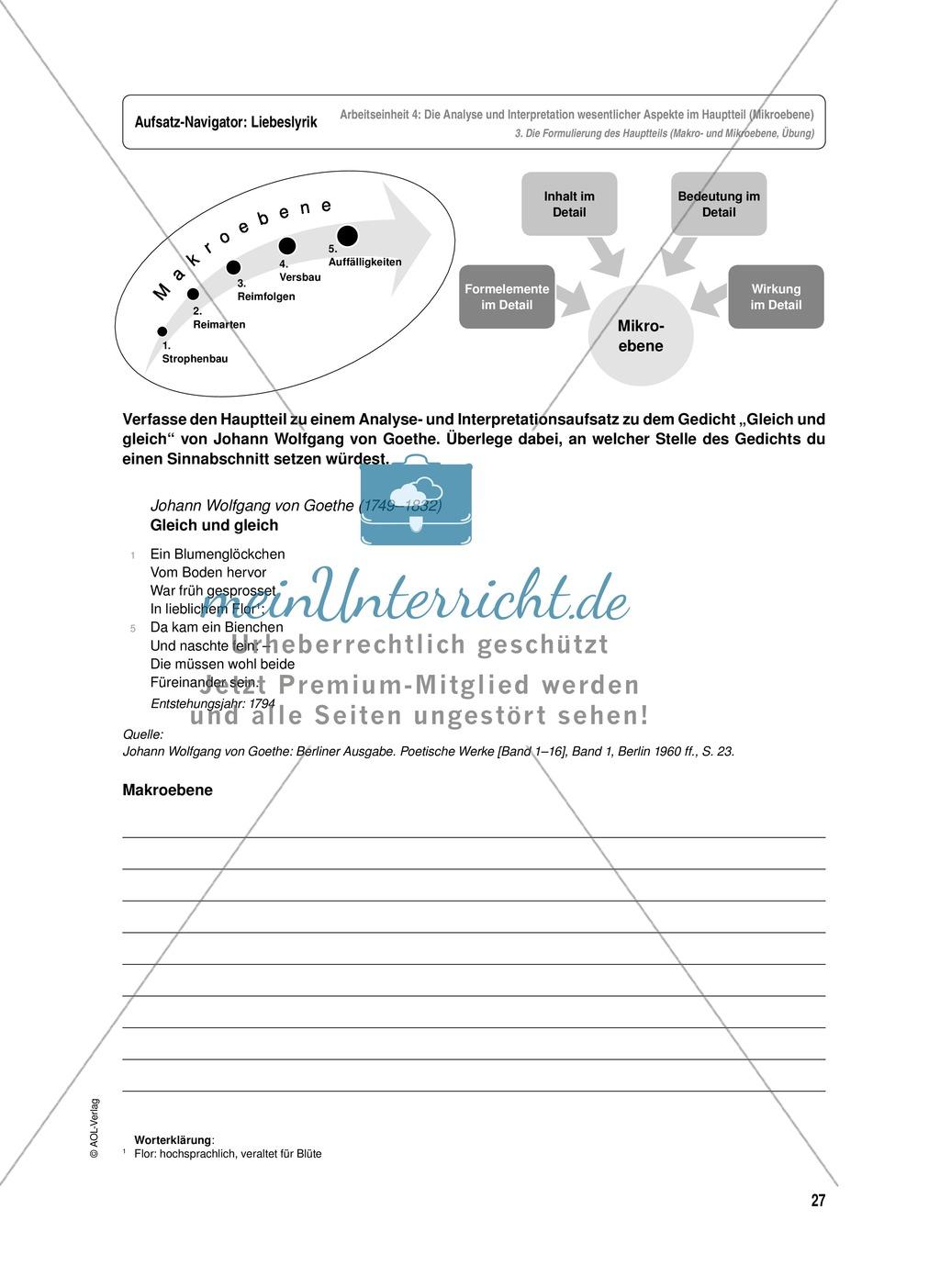 Arbeitseinheit zur Gestaltung einer Analyse / Interpretation von Liebeslyrik - Die Analyse und Interpretation wesentlicher Aspekte im Hauptteil (Mikroebene) Preview 4