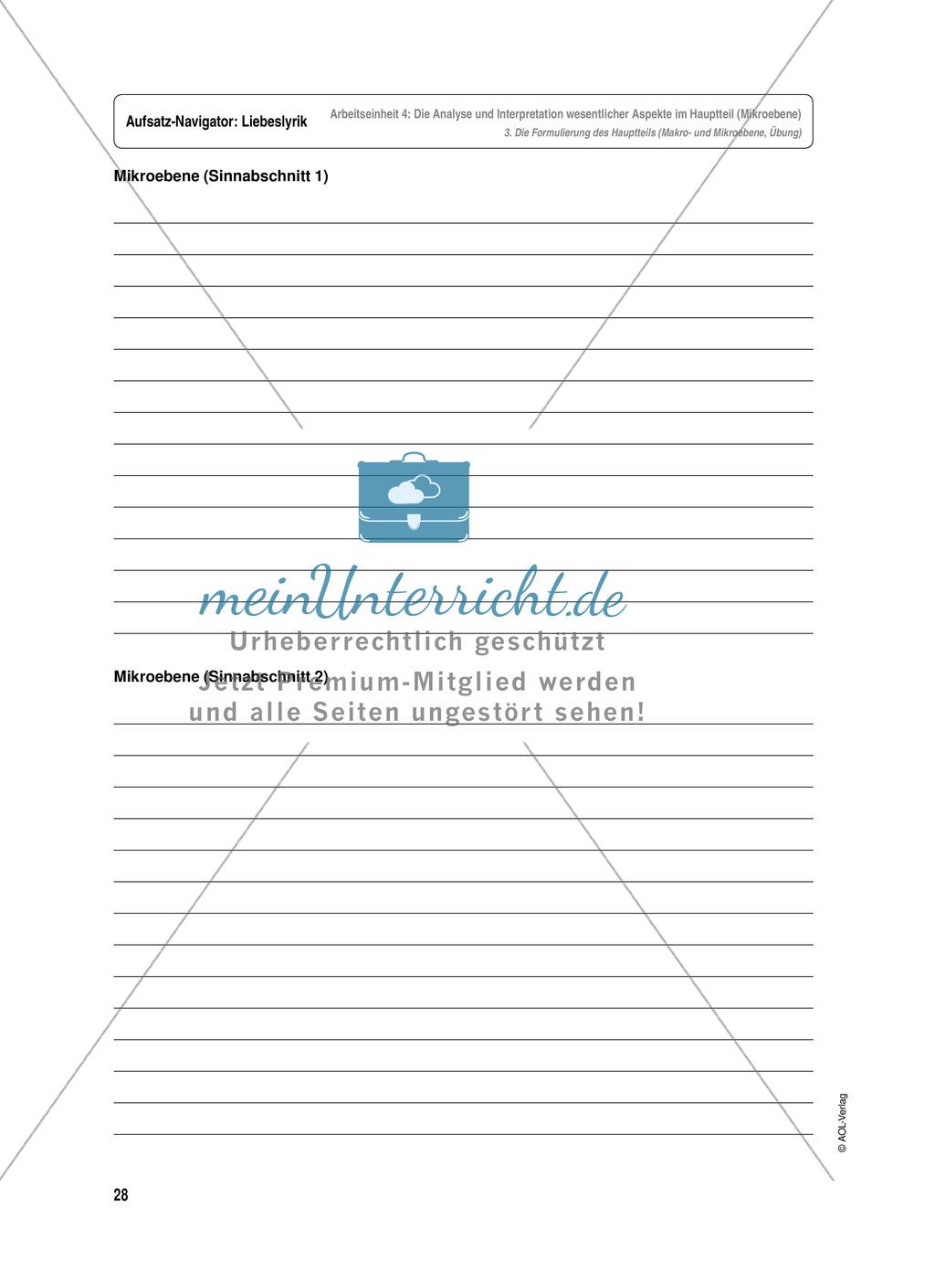 Arbeitseinheit zur Gestaltung einer Analyse / Interpretation von Liebeslyrik - Die Analyse und Interpretation wesentlicher Aspekte im Hauptteil (Mikroebene) Preview 5