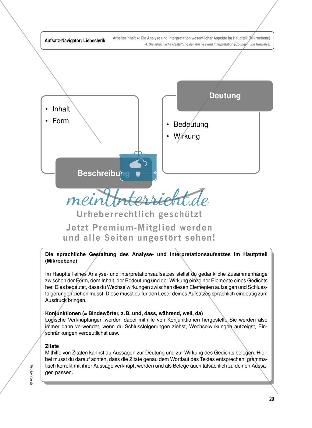 Arbeitseinheit zur Gestaltung einer Analyse / Interpretation von Liebeslyrik - Die Analyse und Interpretation wesentlicher Aspekte im Hauptteil (Mikroebene) Preview 6