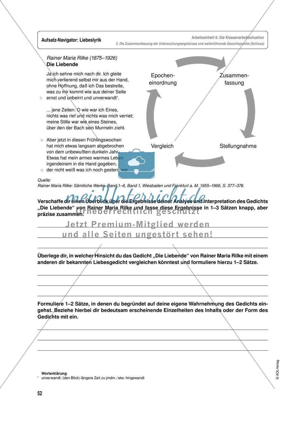 Arbeitseinheit zur Gestaltung einer Analyse / Interpretation von Liebeslyrik - Vorbereitung auf die Klassenarbeitssituation Preview 11