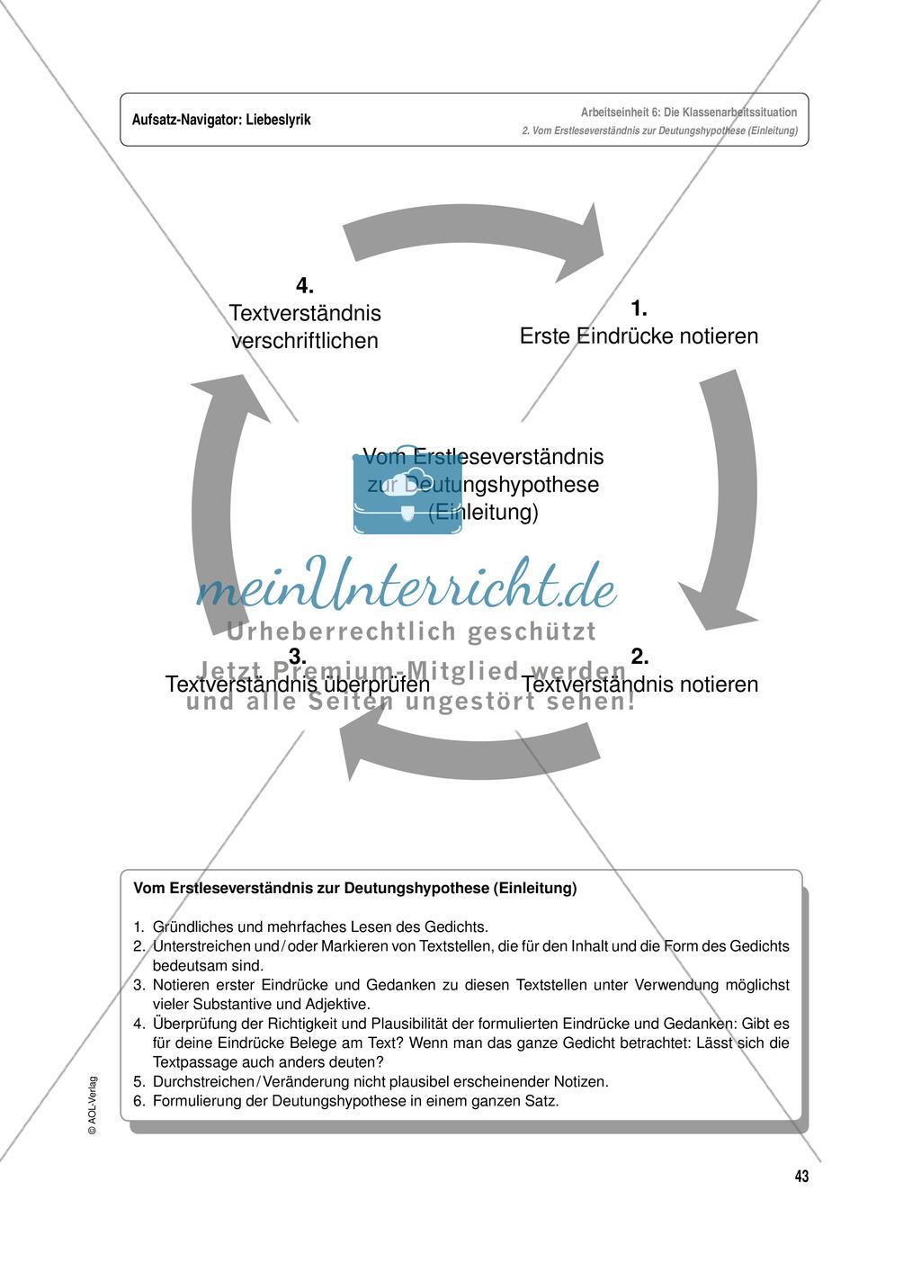 Arbeitseinheit zur Gestaltung einer Analyse / Interpretation von Liebeslyrik - Vorbereitung auf die Klassenarbeitssituation Preview 2