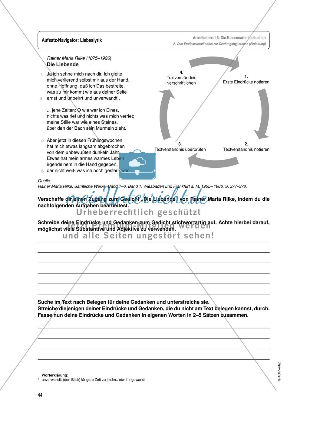 Arbeitseinheit zur Gestaltung einer Analyse / Interpretation von Liebeslyrik - Vorbereitung auf die Klassenarbeitssituation Preview 3