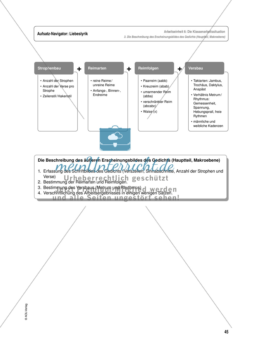 Arbeitseinheit zur Gestaltung einer Analyse / Interpretation von Liebeslyrik - Vorbereitung auf die Klassenarbeitssituation Preview 4