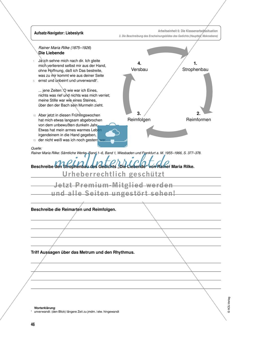Arbeitseinheit zur Gestaltung einer Analyse / Interpretation von Liebeslyrik - Vorbereitung auf die Klassenarbeitssituation Preview 5