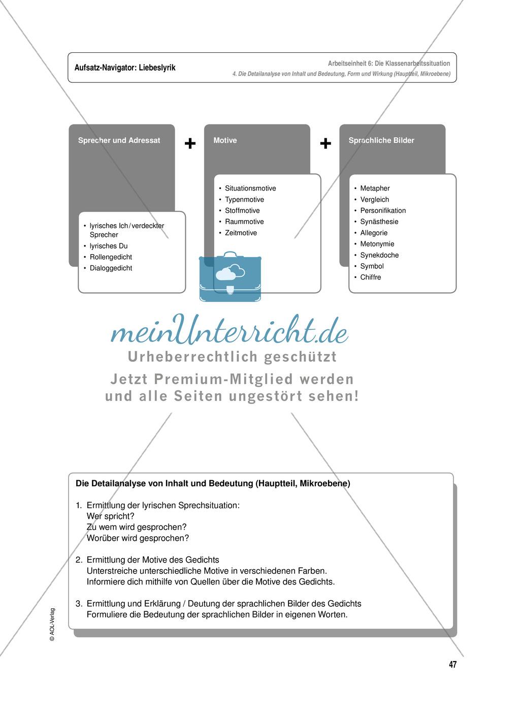 Arbeitseinheit zur Gestaltung einer Analyse / Interpretation von Liebeslyrik - Vorbereitung auf die Klassenarbeitssituation Preview 6
