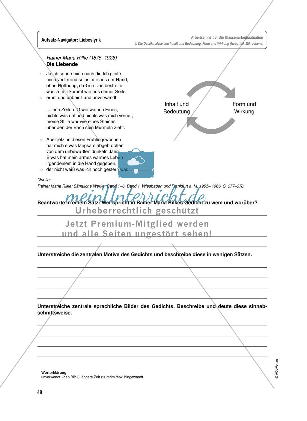 Arbeitseinheit zur Gestaltung einer Analyse / Interpretation von Liebeslyrik - Vorbereitung auf die Klassenarbeitssituation Preview 7