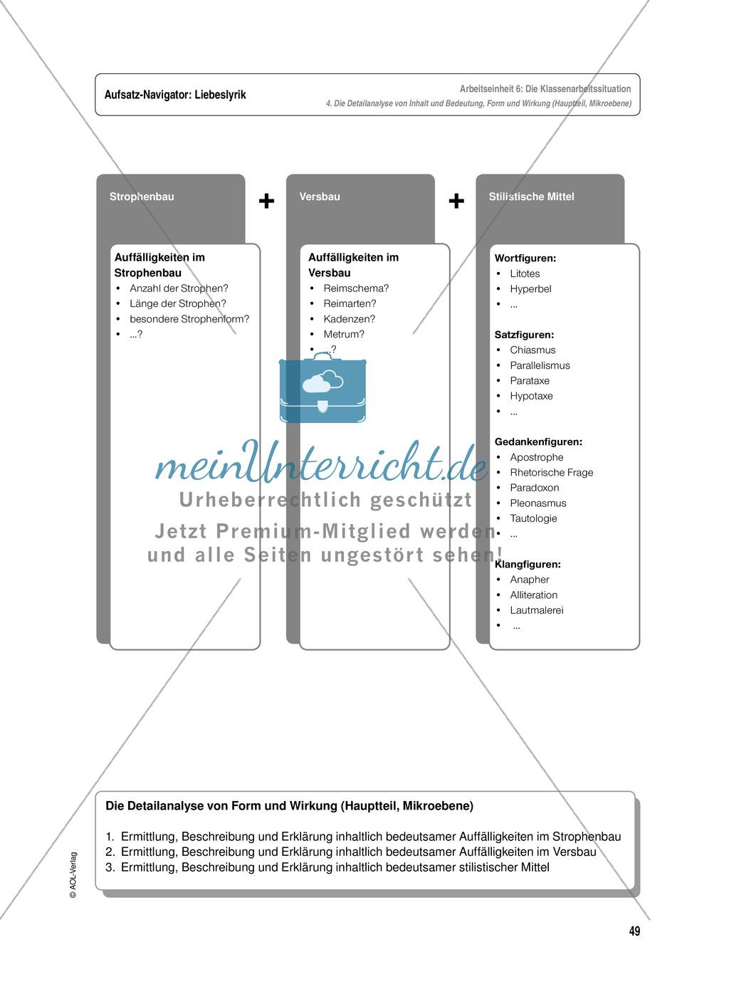 Arbeitseinheit zur Gestaltung einer Analyse / Interpretation von Liebeslyrik - Vorbereitung auf die Klassenarbeitssituation Preview 8