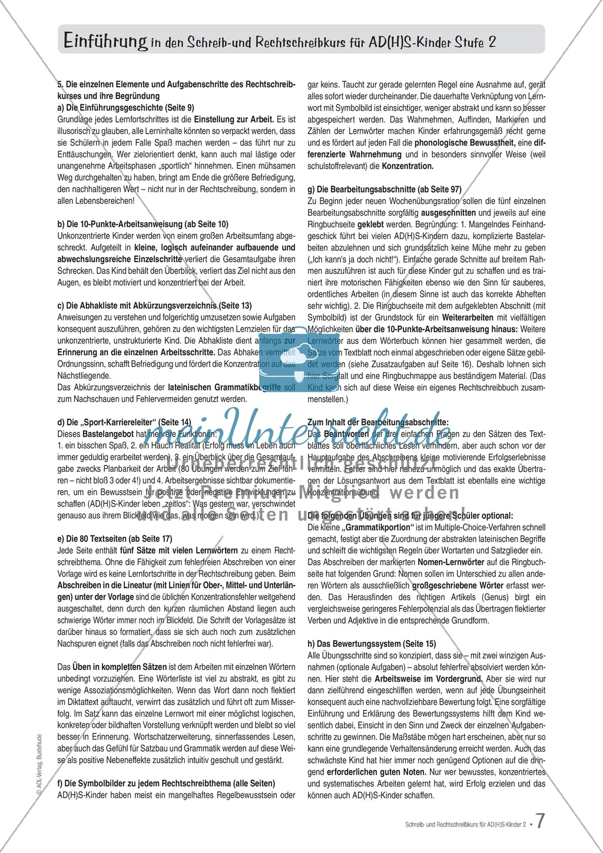 Zusatzaufgaben zur Rechtschreibübung mit Textübungsbögen für Kinder mit ADS/ADHS Preview 1