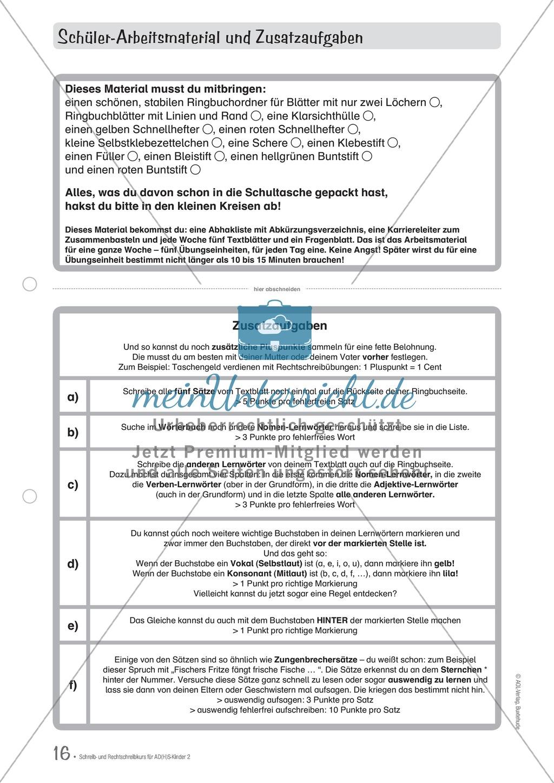 Zusatzaufgaben zur Rechtschreibübung mit Textübungsbögen für Kinder mit ADS/ADHS Preview 2