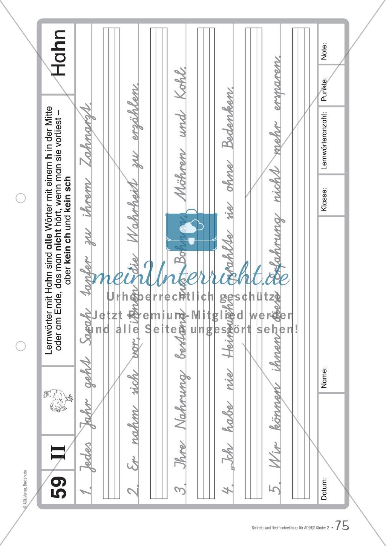 Zusatzaufgaben zur Rechtschreibübung mit Textübungsbögen für Kinder mit ADS/ADHS Preview 61