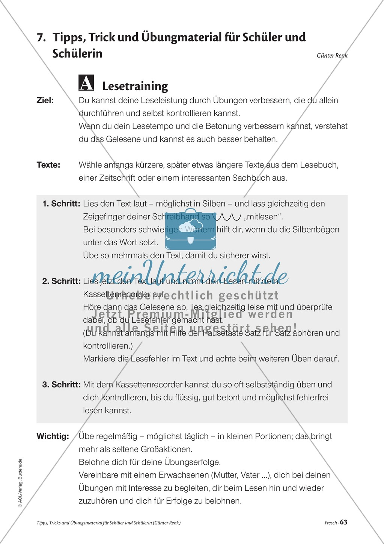 Elementares Lesetraining. Mit Infotext, Beispielen und Tipps für Schüler. Preview 4