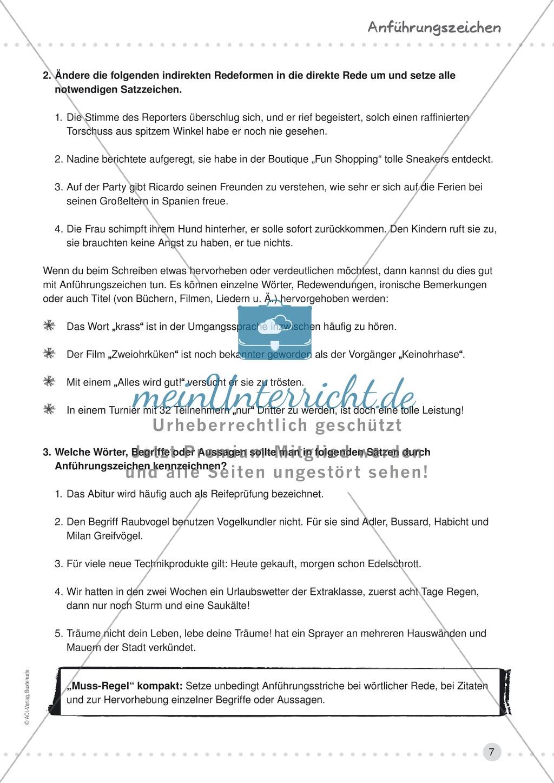 Erklärung und Übung zu Anführungszeichen - wörtliche Rede, Hervorhebungen Preview 2