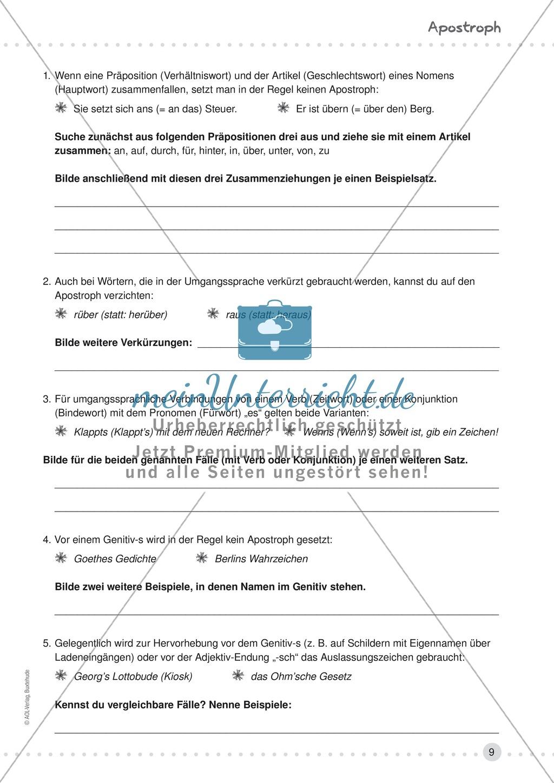 Erklärung und Übung zum Apostroph - korrekte Auslassungen mit und ohne Apostroph, Apostroph im Genitiv Preview 1