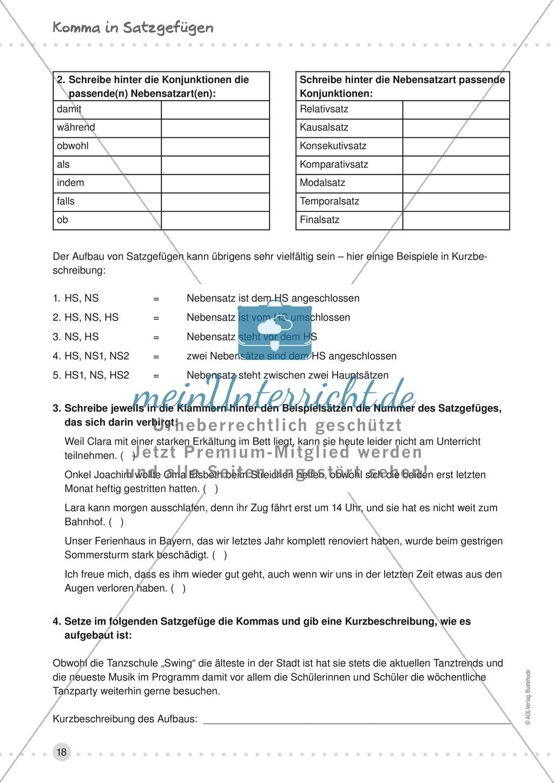 Übungen zur Kommasetzung - Satzgefüge, Satzverbindungen, Muss- und ...