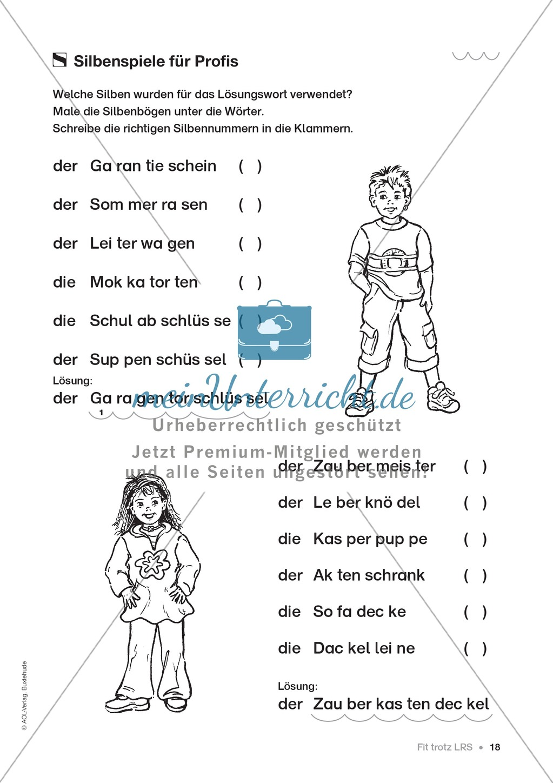 Übungen für Kinder mit LRS: Strategien für Rechtschreibübungen - Silbenschwingen, Verlängerungswörter, Merkwörter und Ableiten Preview 10