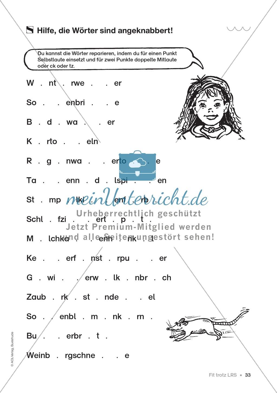 Übungen für Kinder mit LRS: Strategien für Rechtschreibübungen - Silbenschwingen, Verlängerungswörter, Merkwörter und Ableiten Preview 24