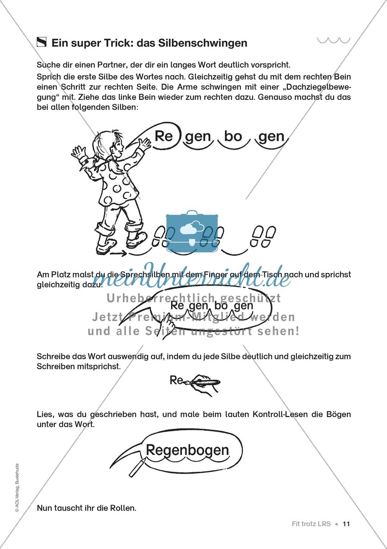 Übungen für Kinder mit LRS: Strategien für Rechtschreibübungen - Silbenschwingen, Verlängerungswörter, Merkwörter und Ableiten Preview 3