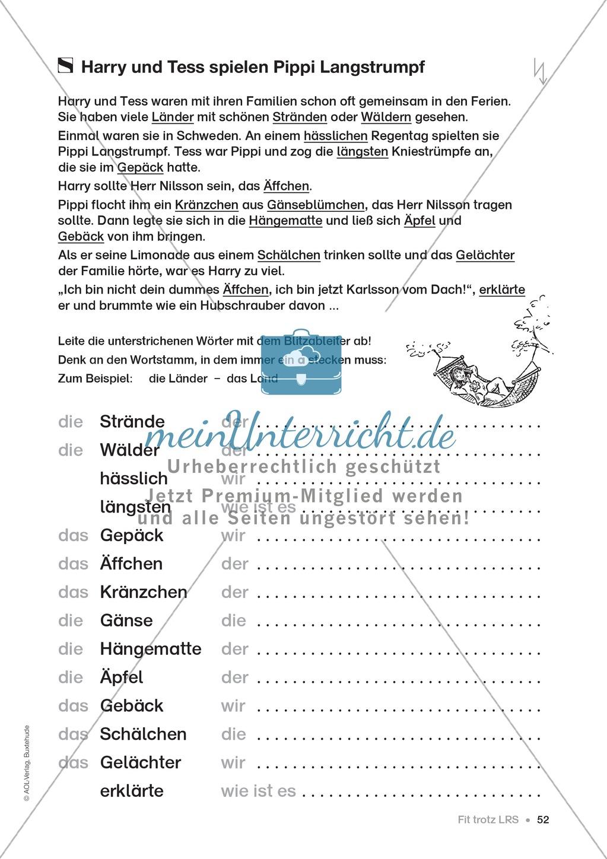Übungen für Kinder mit LRS: Strategien für Rechtschreibübungen - Silbenschwingen, Verlängerungswörter, Merkwörter und Ableiten Preview 43