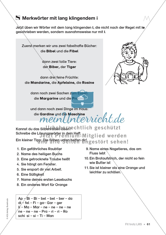 Übungen für Kinder mit LRS: Strategien für Rechtschreibübungen - Silbenschwingen, Verlängerungswörter, Merkwörter und Ableiten Preview 52