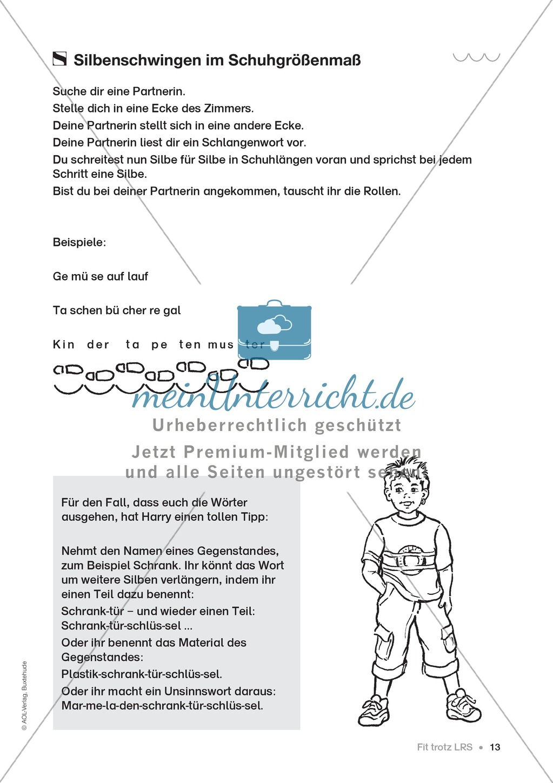 Übungen für Kinder mit LRS: Strategien für Rechtschreibübungen - Silbenschwingen, Verlängerungswörter, Merkwörter und Ableiten Preview 5
