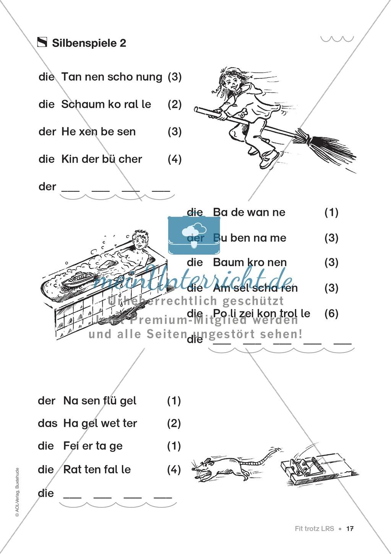 Übungen für Kinder mit LRS: Strategien für Rechtschreibübungen - Silbenschwingen, Verlängerungswörter, Merkwörter und Ableiten Preview 9