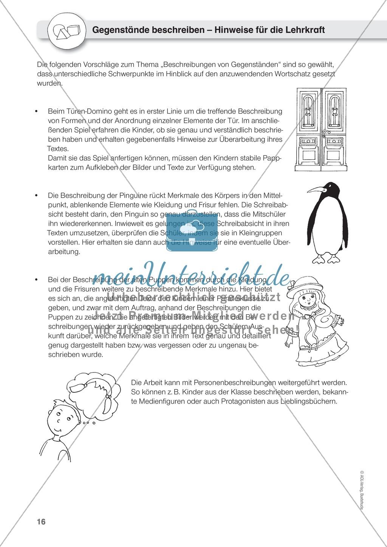 Gegenstände beschreiben - Türen-Domino, Beschreiben üben an Pinguinen, Puppen Preview 0