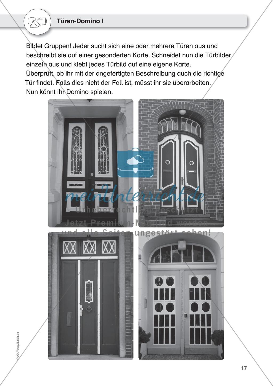Gegenstände beschreiben - Türen-Domino, Beschreiben üben an Pinguinen, Puppen Preview 1