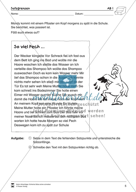Einfache Sätze richtig schreiben: Übungsblätter zu  Satzgrenzen Preview 0