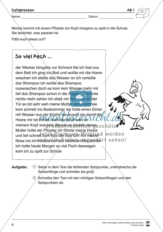 Einfache Sätze richtig schreiben: Übungsblätter zu  Satzgrenzen Preview 1