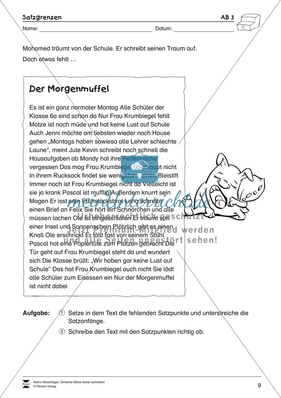 Einfache Sätze richtig schreiben: Übungsblätter zu  Satzgrenzen Preview 4