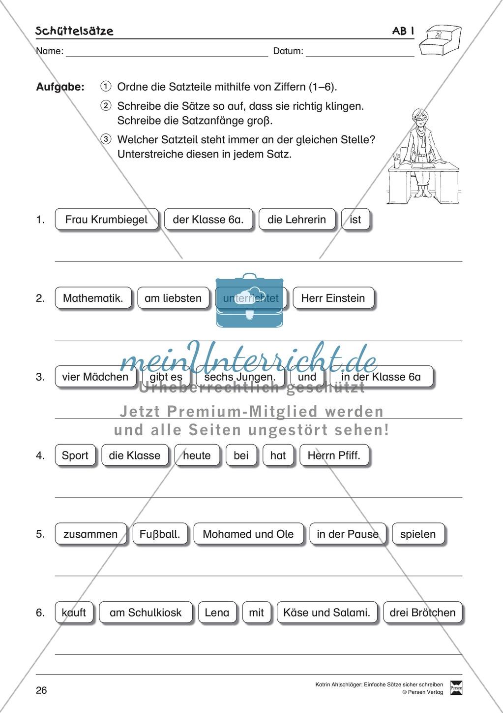Einfache Sätze richtig schreiben: Übungsblätter zu  Schüttelsätzen Preview 1