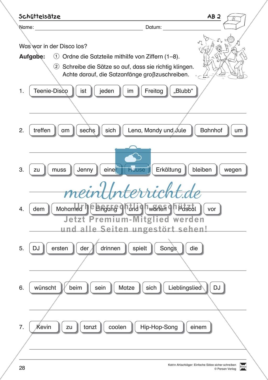 Einfache Sätze richtig schreiben: Übungsblätter zu  Schüttelsätzen Preview 3