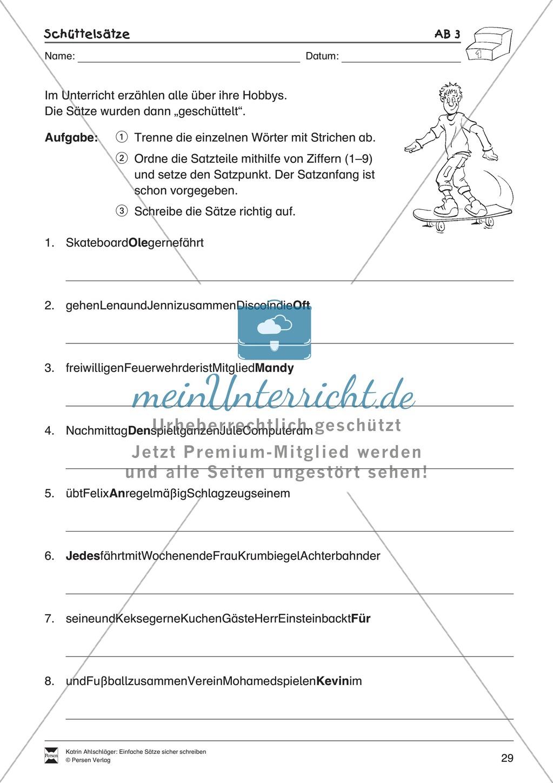 Einfache Sätze richtig schreiben: Übungsblätter zu  Schüttelsätzen Preview 4