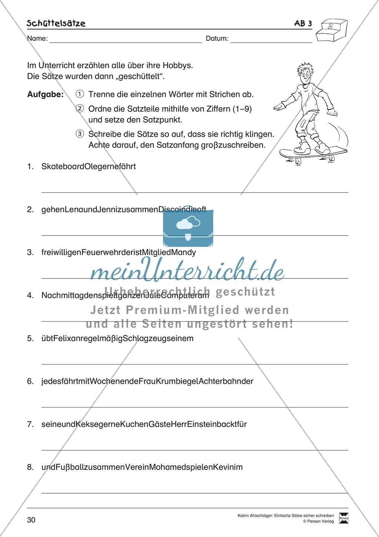 Einfache Sätze richtig schreiben: Übungsblätter zu  Schüttelsätzen Preview 5
