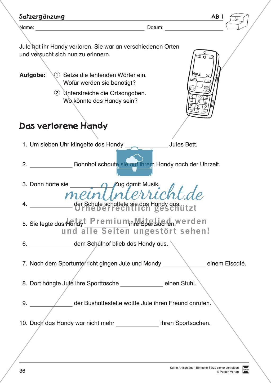Einfache Sätze richtig schreiben: Übungsblätter zu  Satzergänzungen Preview 1