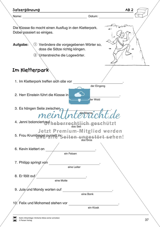Einfache Sätze richtig schreiben: Übungsblätter zu  Satzergänzungen Preview 2