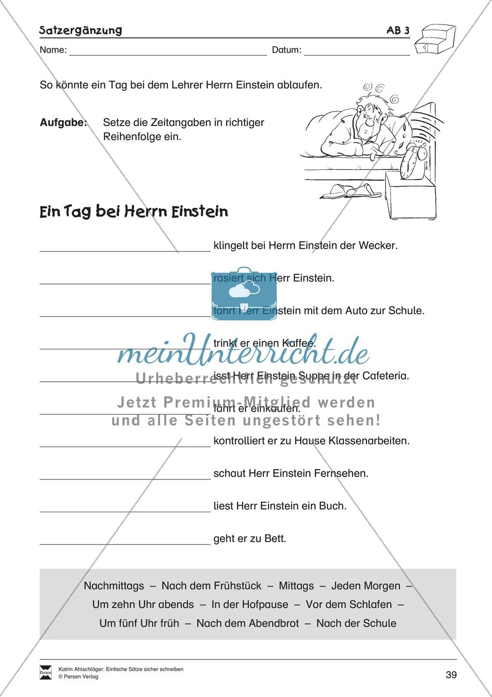 Einfache Su00e4tze richtig schreiben: u00dcbungsblu00e4tter zu Satzergu00e4nzungen - meinUnterricht.de