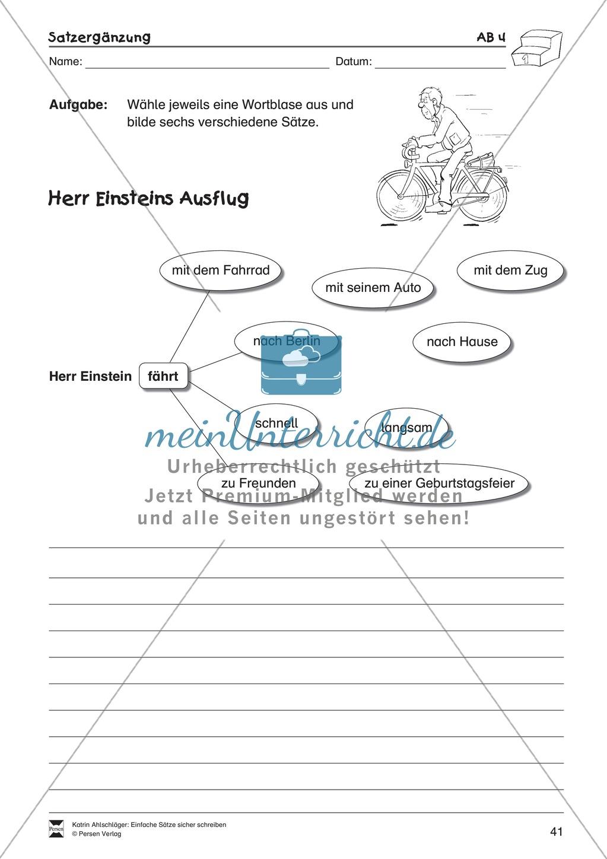 Einfache Sätze richtig schreiben: Übungsblätter zu  Satzergänzungen Preview 6