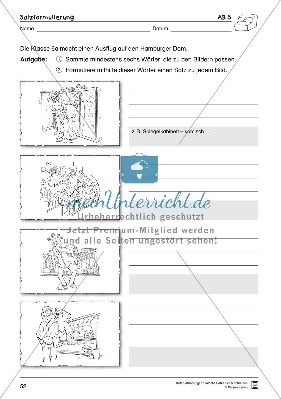 Einfache Sätze richtig schreiben: Übungsblätter zu Satzformulierungen Preview 9