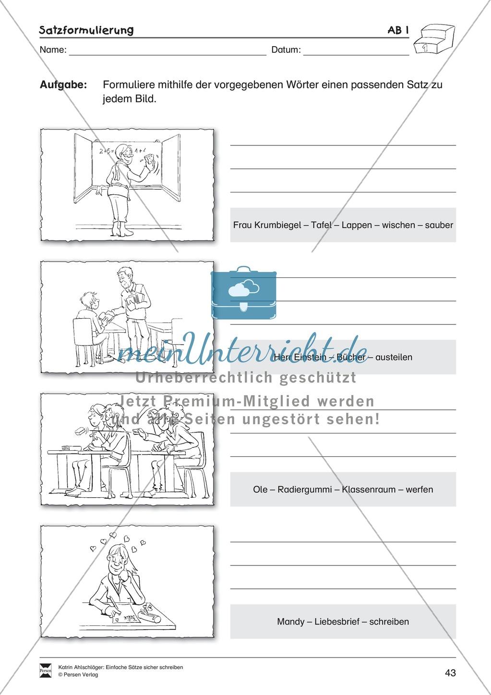 Einfache Sätze richtig schreiben: Übungsblätter zu Satzformulierungen Preview 0